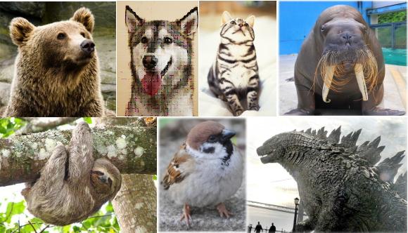 ネコ、犬、ナマケモノ、スズメ、セイウチ、熊、ゴジラ